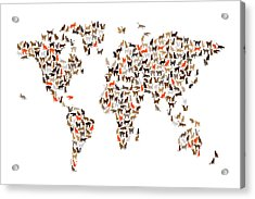 Cats Map Of The World Map Acrylic Print