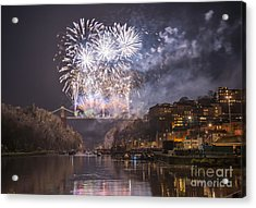 Clifton Suspension Bridge Fireworks Acrylic Print