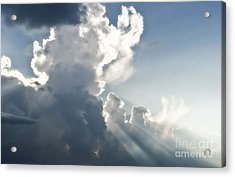 Cloudy Sky With Sun Rays Acrylic Print by Blink Images