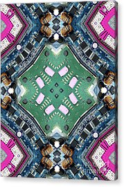 Computer Circuit Board Kaleidoscopic Design Acrylic Print by Amy Cicconi