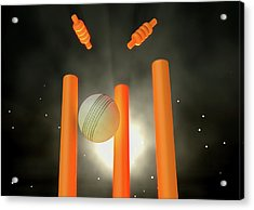 Cricket Ball Hitting Wickets Acrylic Print by Allan Swart