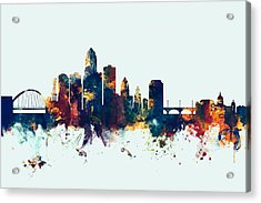 Des Moines Iowa Skyline Acrylic Print by Michael Tompsett