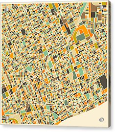 Detroit Map Acrylic Print by Jazzberry Blue