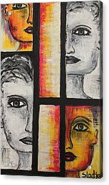 Acrylic Print featuring the painting 4 Faces by Sladjana Lazarevic