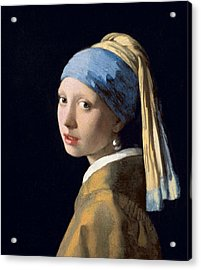 Girl With A Pearl Earring Acrylic Print by Jan Vermeer