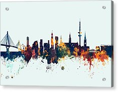 Hamburg Germany Skyline Acrylic Print by Michael Tompsett