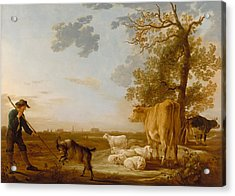 Landscape With Cattle Acrylic Print