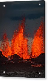 Lava Fountains At The Holuhraun Fissure Acrylic Print by Panoramic Images