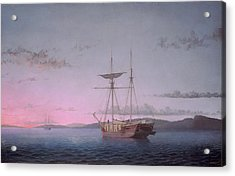 Lumber Schooners At Evening On Penobscot Bay Acrylic Print by Fitz Henry Lane
