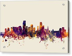 Miami Florida Skyline Acrylic Print by Michael Tompsett