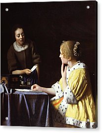 Mistress And Maid Acrylic Print by Johannes Vermeer
