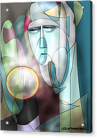 Nun Peering Into Crystal Ball Acrylic Print