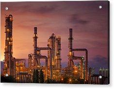Oil Refinery At Twilight Sky Acrylic Print