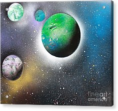Acrylic Print featuring the painting 4 Planets by Greg Moores