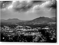 Roanoke City As Seen From Mill Mountain Star At Dusk In Virginia Acrylic Print by Alex Grichenko
