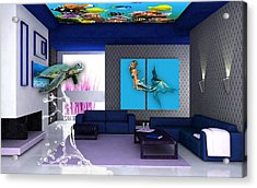 Rooftop Saltwater Fish Tank Art Acrylic Print by Marvin Blaine