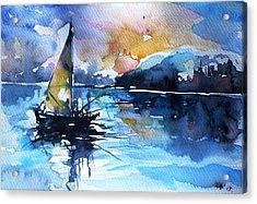 Acrylic Print featuring the painting Sailboat by Kovacs Anna Brigitta