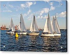 Sailboat Race Acrylic Print by Tom Dowd