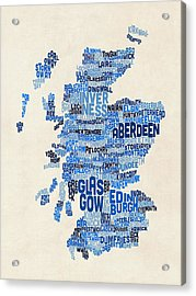 Scotland Typography Text Map Acrylic Print by Michael Tompsett