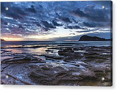 Seascape Cloudy Nightscape Acrylic Print