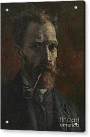 Self Portrait With Pipe Acrylic Print by Vincent Van Gogh