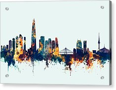 Acrylic Print featuring the digital art Seoul Skyline South Korea by Michael Tompsett