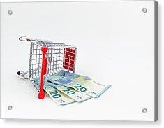 Shopping Cart With Euro Banknotes Acrylic Print