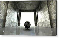 Soccer Ball Sports Stadium Tunnel Acrylic Print by Allan Swart