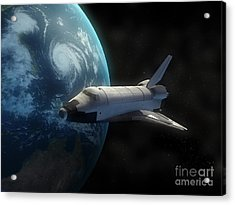 Space Shuttle Backdropped Against Earth Acrylic Print by Carbon Lotus