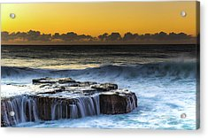 Sunrise Seascape With Cascades Over The Rock Ledge Acrylic Print