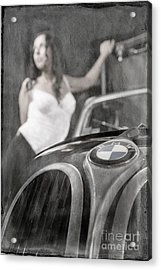 Acrylic Print featuring the photograph The Girl On The Background Of Vintage Car. by Andrey  Godyaykin