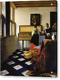 The Music Lesson Acrylic Print by Johannes Vermeer