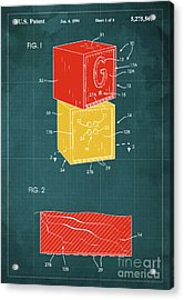 Toy Building Brick Patent Year 1958 Blueprint Acrylic Print