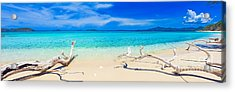 Tropical Beach Malcapuya Acrylic Print by MotHaiBaPhoto Prints