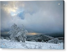 Typical Snowy Landscape In Ore Mountains, Czech Republic. Acrylic Print