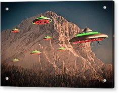 Ufo Invasion Force By Raphael Terra Acrylic Print by Raphael Terra