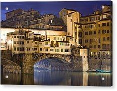 Vecchio Bridge At Night Acrylic Print by Andre Goncalves