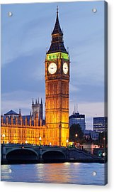 View Of Big Ben And Houses Acrylic Print by Panoramic Images
