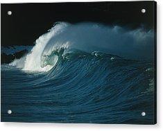 Wind-blown Wave Breaking In Hawaii Acrylic Print