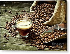 Acrylic Print featuring the photograph Espresso And Coffee Grain by Gualtiero Boffi