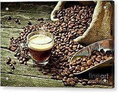 Espresso And Coffee Grain Acrylic Print by Gualtiero Boffi