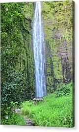 400 Foot Waimoku Falls Maui Acrylic Print by Pierre Leclerc Photography