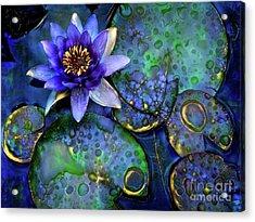 Jeweled Water Lilies Acrylic Print