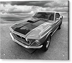 428 Cobra Jet Mach1 Ford Mustang 1969 In Black And White Acrylic Print