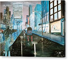 Acrylic Print featuring the painting 42nd Street Blue by Steve Karol