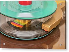 Acrylic Print featuring the photograph 45 Rpm Record In Play Mode by Gary Slawsky