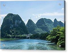 Lijiang River And Karst Mountains Scenery Acrylic Print