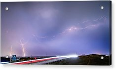47 Street Lightning Storm Light Trails View Panorama 1 Acrylic Print by James BO  Insogna