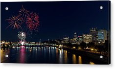 4th Of July Fireworks At Portland Waterfront 2016 Acrylic Print by David Gn