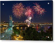 4th Of July Fireworks Acrylic Print by David Gn